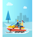 family on snowmobile snowmobiling people in park vector image