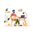 father work home at laptop freelance remote office vector image