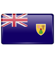 Flags Turks and Caicos in the form of a magnet on vector image vector image