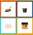 flat icon dacha set of pail lawn mower wooden vector image