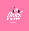 happy summer party logo with headphone and sound vector image vector image