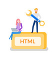 html programming man developer with instrument vector image vector image
