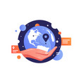 humans hand holding planet earth vector image vector image