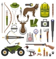 Hunting equipment kit rifle knife hat suit vector image vector image