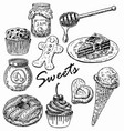 ink hand drawn style sweets set vector image