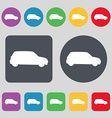 Jeep icon sign A set of 12 colored buttons Flat vector image vector image