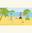 jogging sport people on the beach vector image vector image