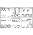 Kitchen sketchy banner Shelves with dishes vector image