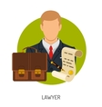 Lawyer Icon with Briefcase vector image
