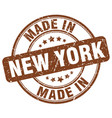 made in new york brown grunge round stamp vector image vector image