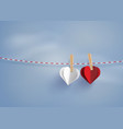 paper heart shape hanging on the lope vector image