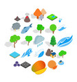 planet icons set isometric style vector image