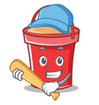 playing baseball bucket character cartoon style vector image vector image