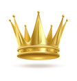 realistic golden crown 3d elegant queen or vector image
