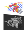 robot warrior battle robot holding blaster or vector image