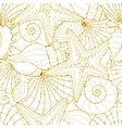 Seamless background with starfish and seashells vector image