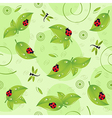 seamless pattern with leaves insects vector image