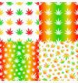 seamless patterns with cannabis leaves mix colour vector image