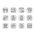 Set of black simple line railway icons vector image vector image