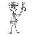 stickman cartoon of policeman police officer with vector image