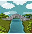 stone bridge over the river vector image