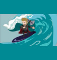 superhero viking with hammer surfer sliding on sea vector image