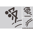 synchronized diving icons vector image vector image