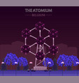 the atomium landmark building in brussels at night vector image vector image