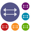 two barbells icons set vector image vector image