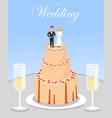 wedding celebration cake and glasses champagne vector image vector image