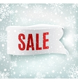 Winter sale background with white realistic ribbon vector image vector image