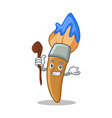 witch paint brush character cartoon vector image