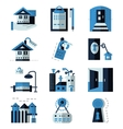 Rent real estate blue flat icons vector image