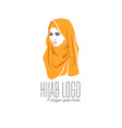 beautiful woman wearing colorful hijab icon hijab vector image vector image