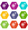belting drive icons set 9 vector image