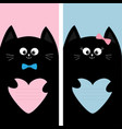 black cat kitty family holding pink blue heart vector image