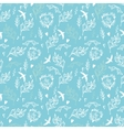 Blue seamless pattern with flowers and birds vector image
