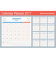 Calendar Planner for 2017 Year Design Template Set vector image vector image