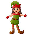 cartoon christmas elf presenting vector image vector image