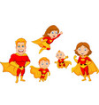 cartoon superhero collection set vector image