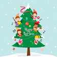 Children And Decorations On New Year Tree vector image vector image