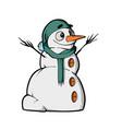 christmas snowmen on white background cute cartoon vector image