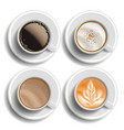 coffee cups set top view different types vector image vector image