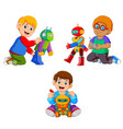 collection boy playing with their robot vector image