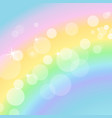 colorful pastel background with rainbow and bokeh vector image