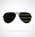 cool aviator sunglasses with usa flag military vector image