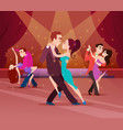 couples on dance floor cartoon characters dancing vector image