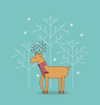 cue reindeer standing with scarf christmas vector image