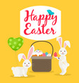 easter basket and rabbits greeting card vector image vector image