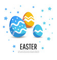 easter card with painted eggs and stars vector image vector image